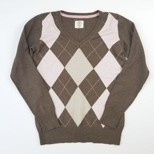 H&M Brown Pink Argyle Sweater Size Small